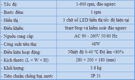 Thông số kỹ thuật bơm nhu động longer pump bt600
